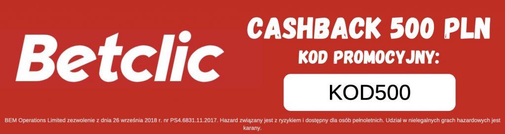 Betclic bonus - zakład bez ryzyka 500 PLN